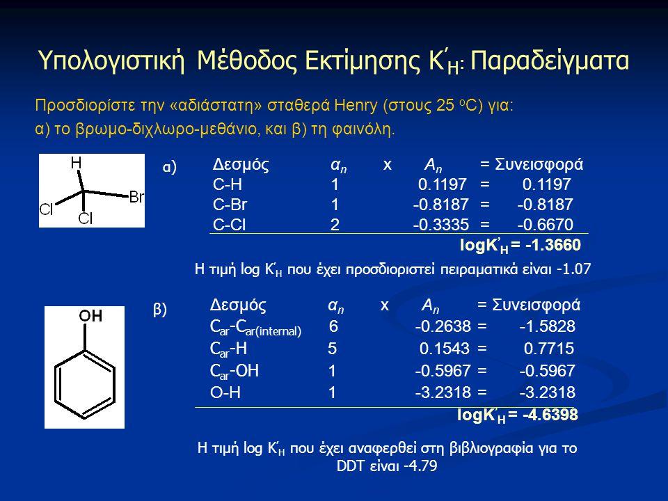 Προσδιορίστε την «αδιάστατη» σταθερά Henry (στους 25 ο C) για: α) το βρωμο-διχλωρο-μεθάνιο, και β) τη φαινόλη. Υπολογιστική Μέθοδος Εκτίμησης Κ ' Η :