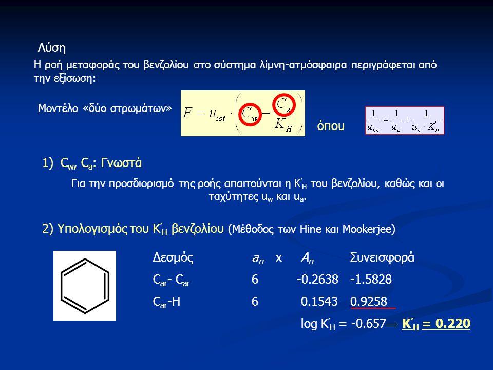 Η ροή μεταφοράς του βενζολίου στο σύστημα λίμνη-ατμόσφαιρα περιγράφεται από την εξίσωση: 1)C w, C a : Γνωστά Για την προσδιορισμό της ροής απαιτούνται