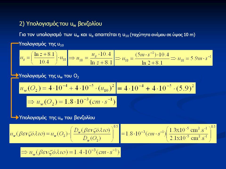 2) Υπολογισμός του u w βενζολίου Για τον υπολογισμό των u w και u a απαιτείται η u 10 (ταχύτητα ανέμου σε ύψος 10 m) Υπολογισμός της u 10 Υπολογισμός