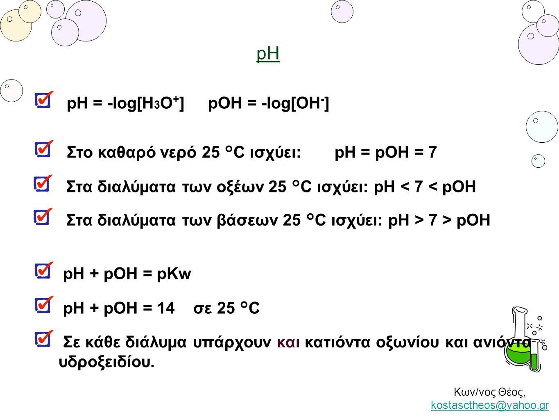Κων/νος Θέος, kostasctheos@yahoo.gr kostasctheos@yahoo.grpH pH = -log[H 3 O + ] pOH = -log[OH - ] Στο καθαρό νερό 25 °C ισχύει: pH = pOH = 7 Στα διαλύ