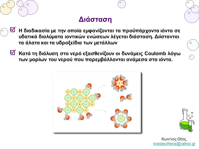 Κων/νος Θέος, kostasctheos@yahoo.gr kostasctheos@yahoo.gr Διάσταση Η διαδικασία με την οποία εμφανίζονται τα προϋπάρχοντα ιόντα σε υδατικά διαλύματα ι