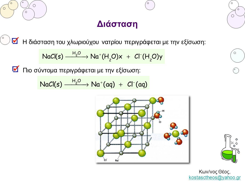 Κων/νος Θέος, kostasctheos@yahoo.gr kostasctheos@yahoo.gr Διάσταση Η διάσταση του χλωριούχου νατρίου περιγράφεται με την εξίσωση: Πιο σύντομα περιγράφ