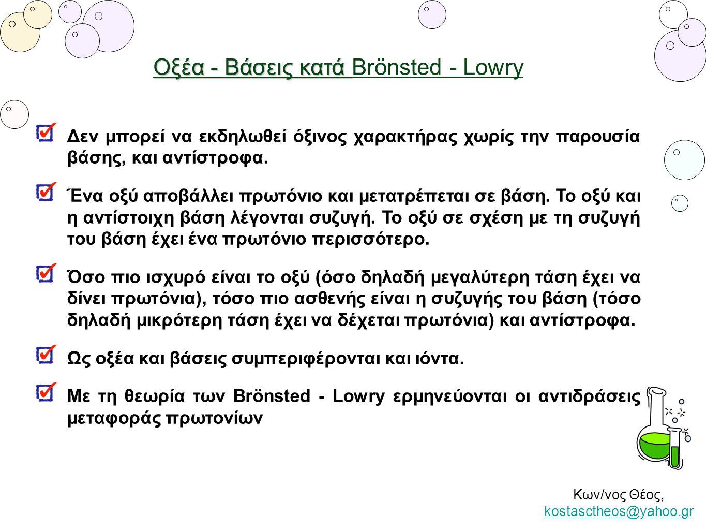 Κων/νος Θέος, kostasctheos@yahoo.gr kostasctheos@yahoo.gr Οξέα - Βάσεις κατά Οξέα - Βάσεις κατά Brönsted - Lowry Δεν μπορεί να εκδηλωθεί όξινος χαρακτ