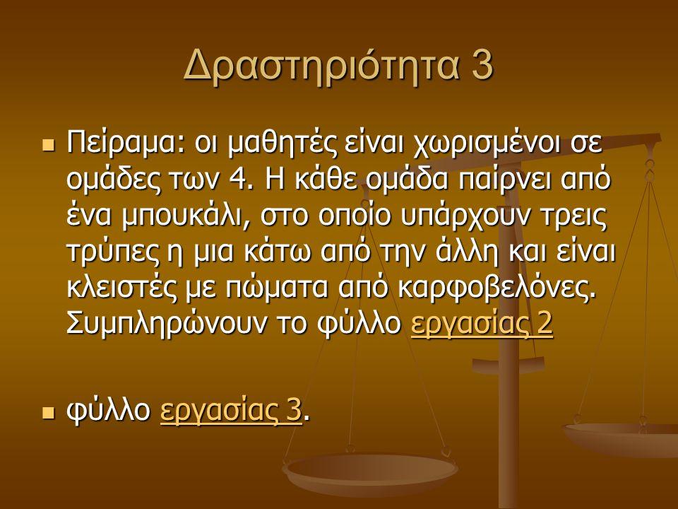 Δραστηριότητα 3  Πείραμα: οι μαθητές είναι χωρισμένοι σε ομάδες των 4.
