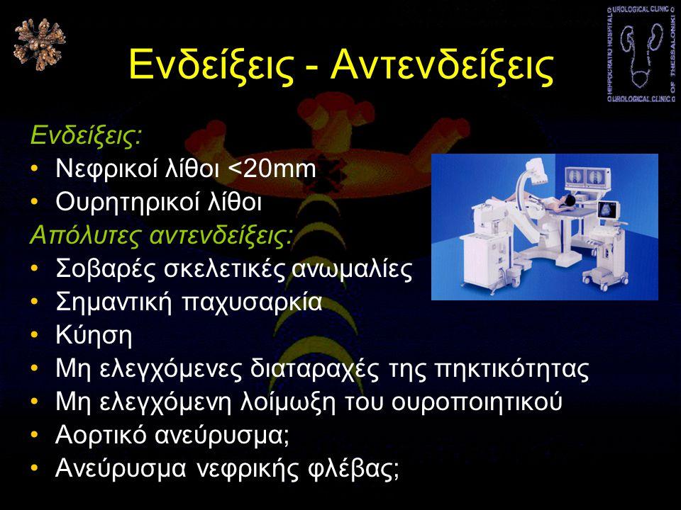 Ενδείξεις - Αντενδείξεις Ενδείξεις: •Νεφρικοί λίθοι <20mm •Ουρητηρικοί λίθοι Απόλυτες αντενδείξεις: •Σοβαρές σκελετικές ανωμαλίες •Σημαντική παχυσαρκία •Κύηση •Μη ελεγχόμενες διαταραχές της πηκτικότητας •Μη ελεγχόμενη λοίμωξη του ουροποιητικού •Αορτικό ανεύρυσμα; •Ανεύρυσμα νεφρικής φλέβας;