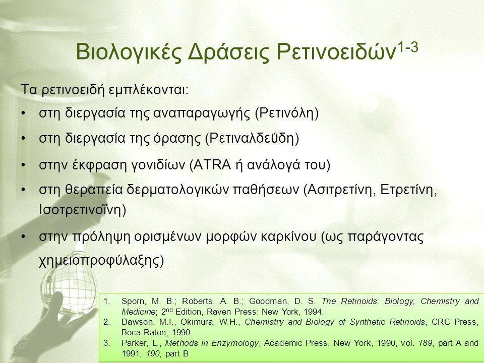 Βιολογικές Δράσεις Ρετινοειδών 4,5 •στη διαφοροποίηση διαφόρων επιθηλιακών κυττάρων •στην ανάπτυξη των οστών •στην αιματοποίηση, στην ανοσοαπόκριση •στην εμβρυική ανάπτυξη Ανεπιθύμητες Ιδιότητες: Τοξικότητα, Καρκινογέννεση, Τερατογέννεση, Ερεθιστικά του δέρματος 4.Tsambaos, D.
