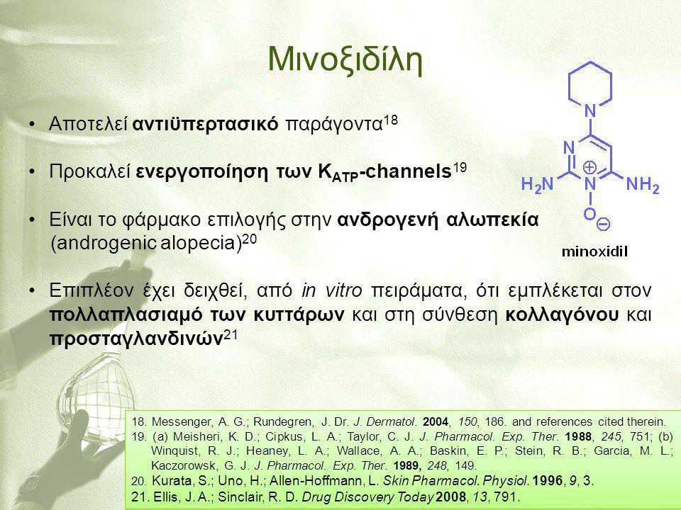 Μινοξιδίλη •Aποτελεί αντιϋπερτασικό παράγοντα 18 •Προκαλεί ενεργοποίηση των K ATP -channels 19 •Είναι το φάρμακο επιλογής στην ανδρογενή αλωπεκία (and