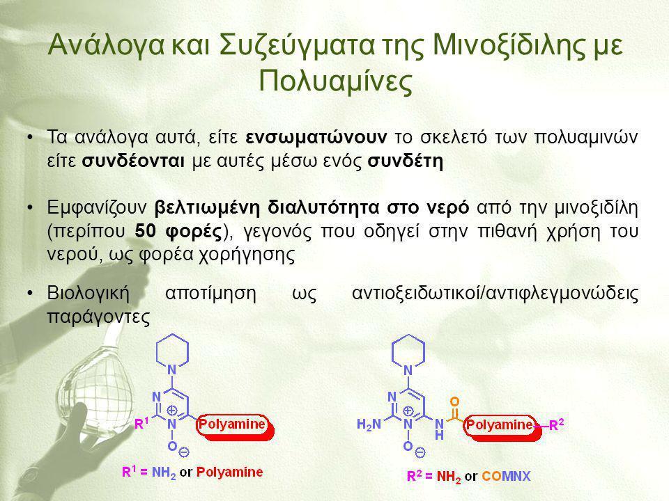 Ανάλογα και Συζεύγματα της Mινοξίδιλης με Πολυαμίνες •Τα ανάλογα αυτά, είτε ενσωματώνουν το σκελετό των πολυαμινών είτε συνδέονται με αυτές μέσω ενός