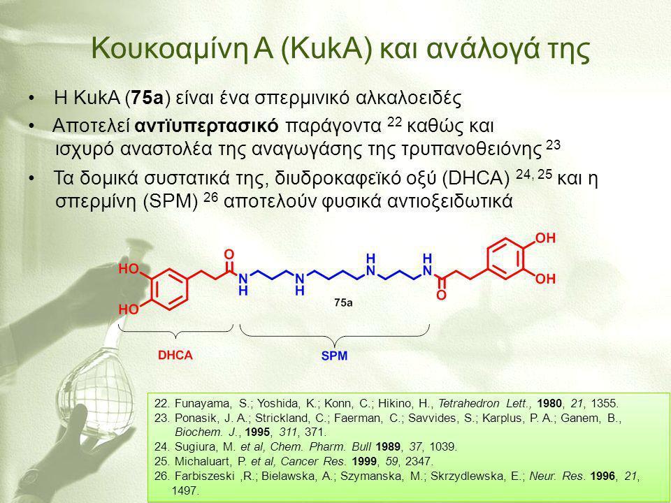 Κουκοαμίνη Α (KukA) και ανάλογά της • Η KukA (75a) είναι ένα σπερμινικό αλκαλοειδές • Αποτελεί αντϊυπερτασικό παράγοντα 22 καθώς και ισχυρό αναστολέα