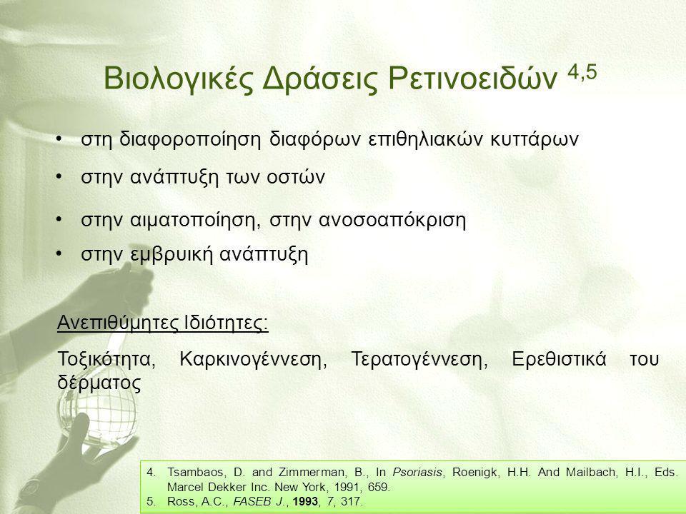 Βιολογικές Δράσεις Ρετινοειδών 4,5 •στη διαφοροποίηση διαφόρων επιθηλιακών κυττάρων •στην ανάπτυξη των οστών •στην αιματοποίηση, στην ανοσοαπόκριση •σ
