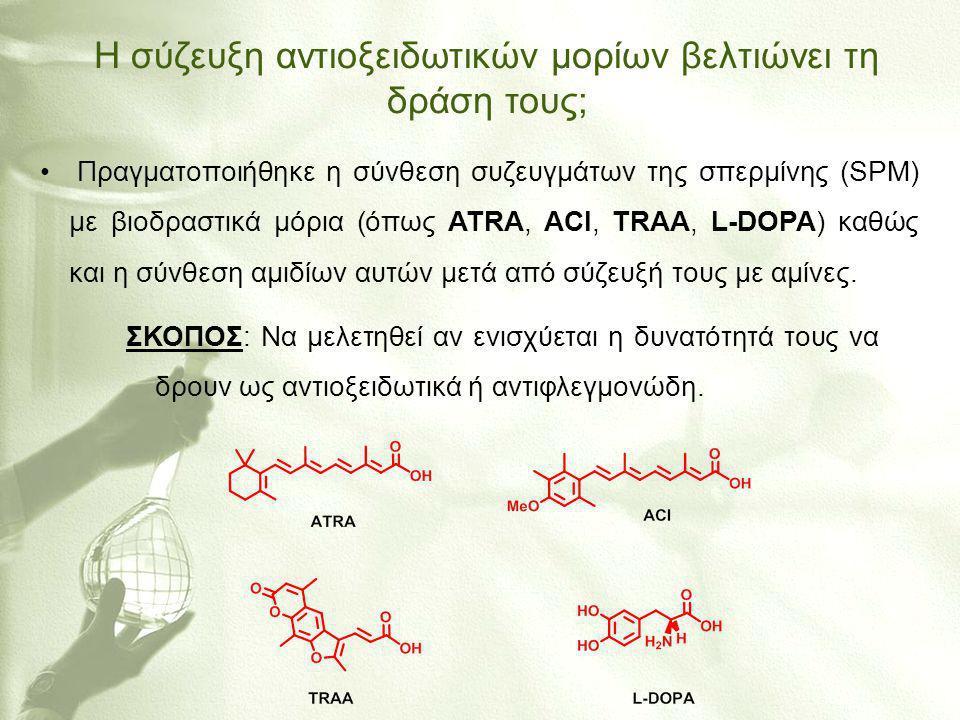 Η σύζευξη αντιοξειδωτικών μορίων βελτιώνει τη δράση τους; • Πραγματοποιήθηκε η σύνθεση συζευγμάτων της σπερμίνης (SPM) με βιοδραστικά μόρια (όπως ATRA