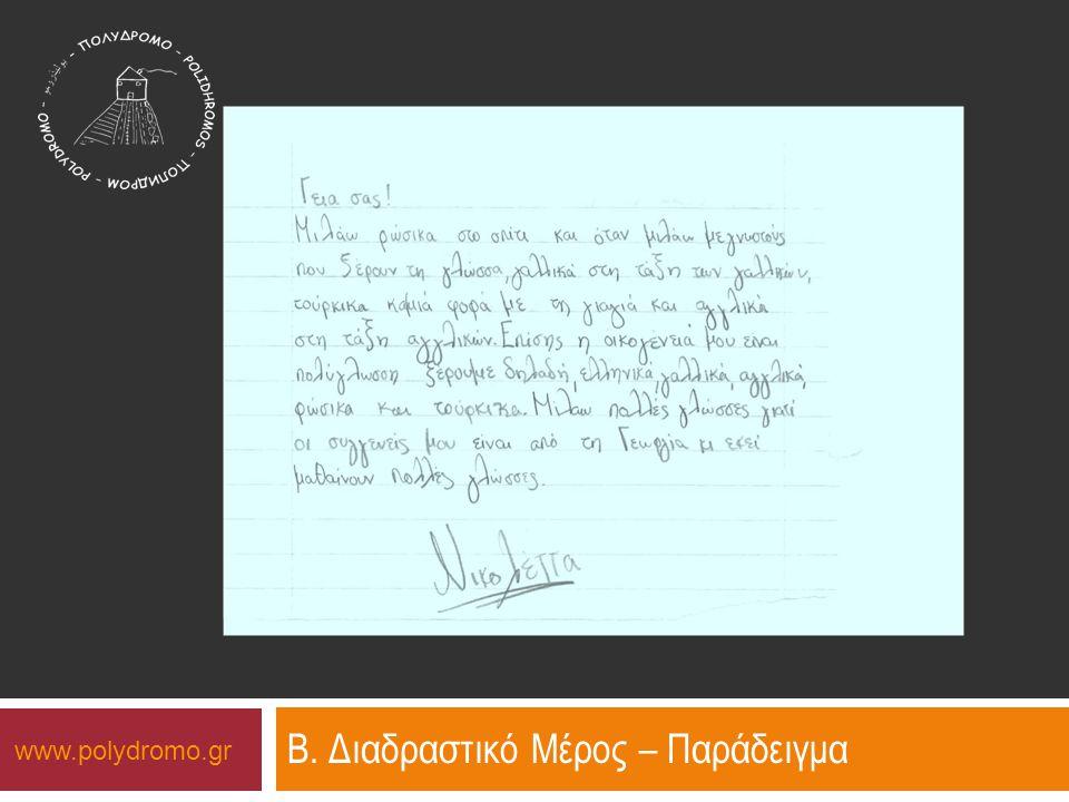 www.polydromo.gr Β. Διαδραστικό Μέρος – Παράδειγμα
