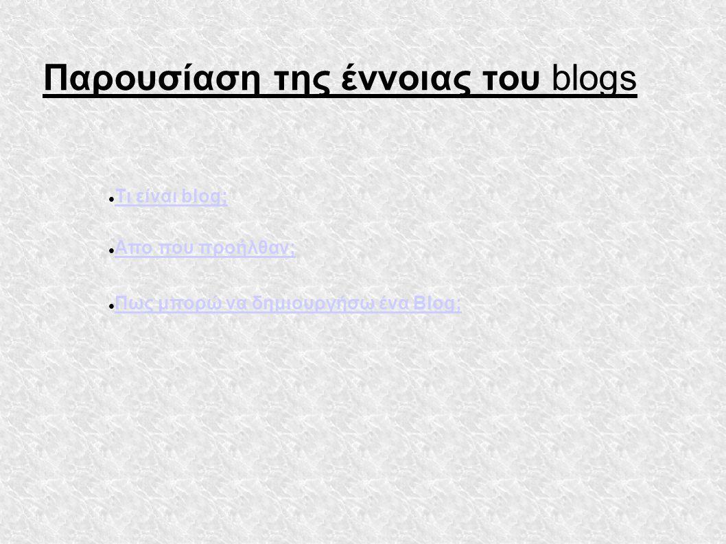  Τι είναι blog; Τι είναι blog; Παρουσίαση της έννοιας του blogs  Απο που προήλθαν; Απο που προήλθαν;  Πως μπορώ να δημιουργήσω ένα Blog; Πως μπορώ να δημιουργήσω ένα Blog;