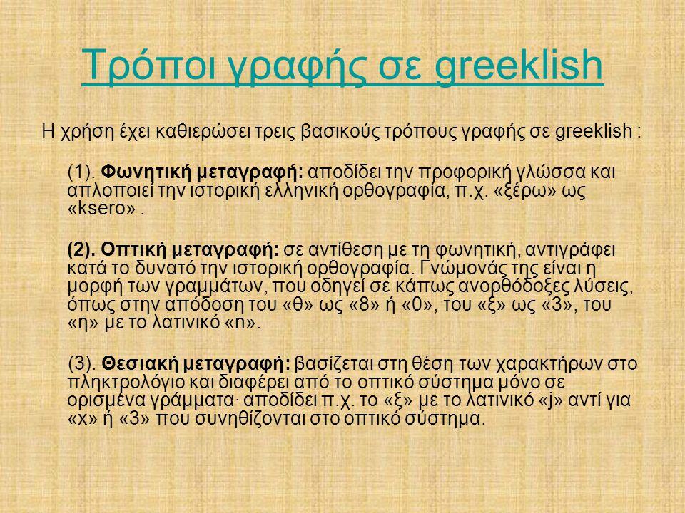 Τρόποι γραφής σε greeklish Η χρήση έχει καθιερώσει τρεις βασικούς τρόπους γραφής σε greeklish : (1). Φωνητική μεταγραφή: αποδίδει την προφορική γλώσσα