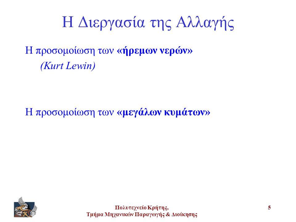 Πολυτεχνείο Κρήτης, Τμήμα Μηχανικών Παραγωγής & Διοίκησης 5 Η Διεργασία της Αλλαγής Η προσομοίωση των «ήρεμων νερών» (Kurt Lewin) Η προσομοίωση των «μ