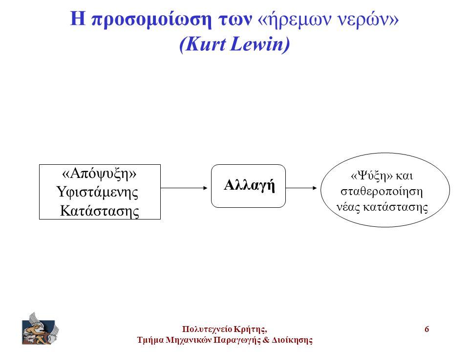 Πολυτεχνείο Κρήτης, Τμήμα Μηχανικών Παραγωγής & Διοίκησης 7 Η προσομοίωση των «ήρεμων νερών» (Kurt Lewin) Η υφιστάμενη κατάσταση (status quo) χαρακτηρίζεται ως «κατάσταση ισορροπίας» Η «απόψυξη» μπορεί να γίνει με τους εξής τρόπους: Ενίσχυση των δυνάμεων που απομακρύνουν τη συμπεριφορά από το status quo Αποδυνάμωση των δυνάμεων αντίστασης Συνδυασμός των παραπάνω