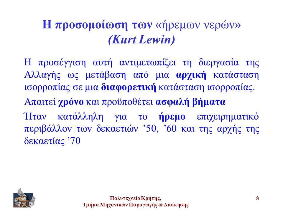 Πολυτεχνείο Κρήτης, Τμήμα Μηχανικών Παραγωγής & Διοίκησης 8 Η προσομοίωση των «ήρεμων νερών» (Kurt Lewin) Η προσέγγιση αυτή αντιμετωπίζει τη διεργασία