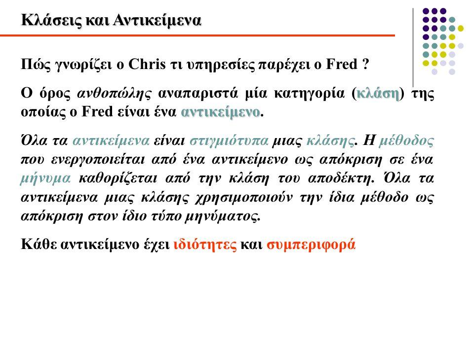 Κλάσεις και Αντικείμενα Πώς γνωρίζει ο Chris τι υπηρεσίες παρέχει ο Fred ? κλάση αντικείμενο Ο όρος ανθοπώλης αναπαριστά μία κατηγορία (κλάση) της οπο