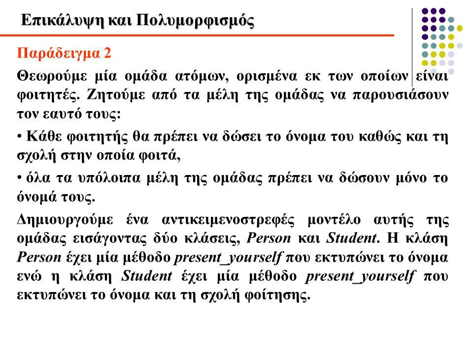 Επικάλυψη και Πολυμορφισμός Παράδειγμα 2 Θεωρούμε μία ομάδα ατόμων, ορισμένα εκ των οποίων είναι φοιτητές. Ζητούμε από τα μέλη της ομάδας να παρουσιάσ