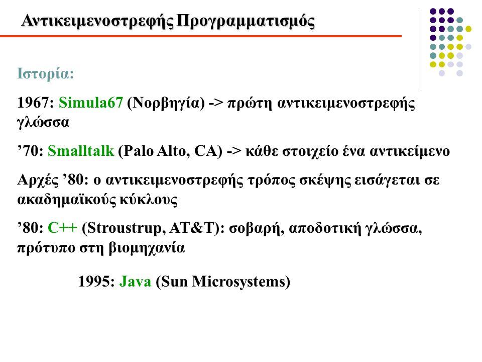 Προγραμματισμός σε μικρή και μεγάλη κλίμακα Προγραμματισμός σε μικρή κλίμακα: • ανάπτυξη του κώδικα από μικρή ομάδα προγραμματιστών • Κύριο πρόβλημα: σχεδίαση των αλγορίθμων Προγραμματισμός σε μεγάλη κλίμακα: • ανάπτυξη του συστήματος από μεγάλη ομάδα προγραμματιστών, με διακριτούς ρόλους επικοινωνία μεταξύ τμημάτων του έργου • Κύριο πρόβλημα: διαχείριση της πληροφορίας και επικοινωνία μεταξύ τμημάτων του έργου Ο αντικειμενοστρεφής προγραμματισμός ενδείκνυται για έργα λογισμικού μεγάλης κλίμακας