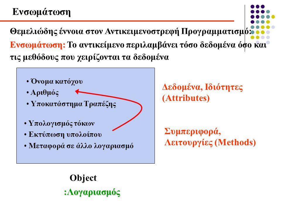 Ενσωμάτωση Θεμελιώδης έννοια στον Αντικειμενοστρεφή Προγραμματισμό: Object Ενσωμάτωση: Ενσωμάτωση: Το αντικείμενο περιλαμβάνει τόσο δεδομένα όσο και τ