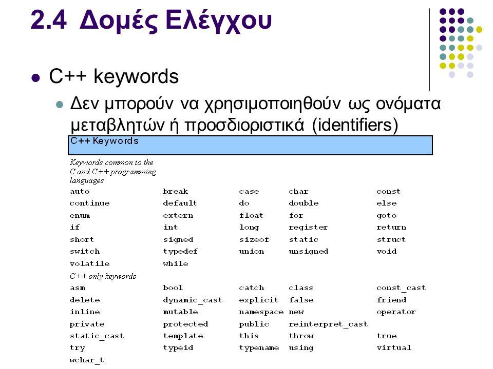 2.4Δομές Ελέγχου  C++ keywords  Δεν μπορούν να χρησιμοποιηθούν ως ονόματα μεταβλητών ή προσδιοριστικά (identifiers)