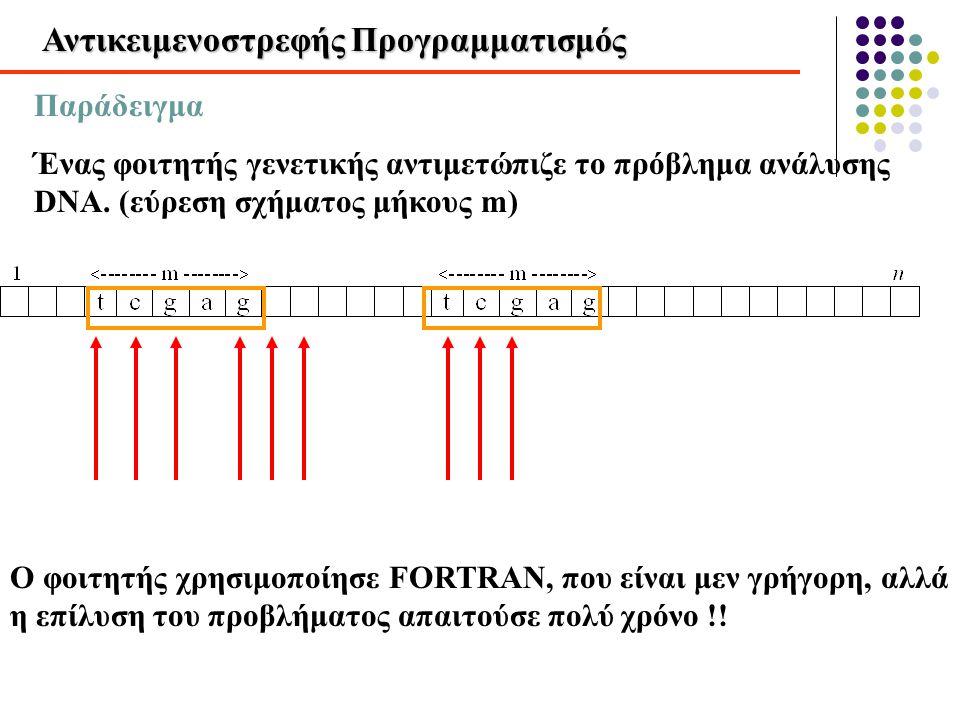 Αντικειμενοστρεφής Προγραμματισμός Ο φοιτητής ζήτησε βοήθεια από κάποιον άλλο, που ήταν χρήστης της APL (γνωστής για την μικρή ταχύτητά της) Ωστόσο ο δεύτερος φοιτητής έλυσε το πρόβλημα σε λίγα λεπτά (αντί για ώρες) Οργάνωσε τα δεδομένα σε πίνακα με n γραμμές και m στήλες
