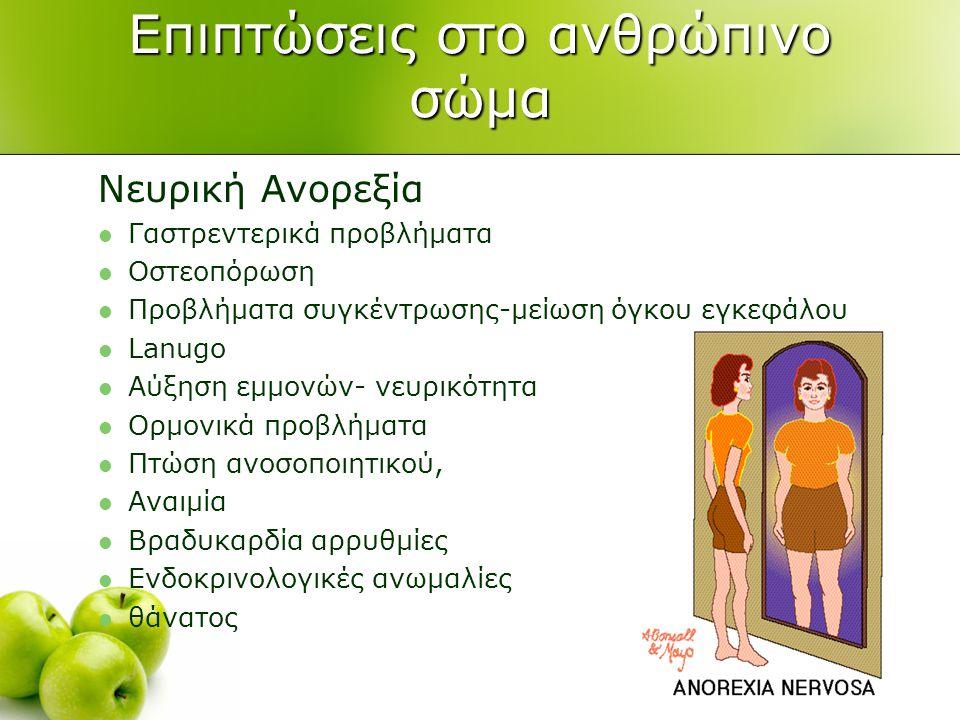 Επιπτώσεις στο ανθρώπινο σώμα Νευρική Ανορεξία  Γαστρεντερικά προβλήματα  Οστεοπόρωση  Προβλήματα συγκέντρωσης-μείωση όγκου εγκεφάλου  Lanugo  Αύξηση εμμονών- νευρικότητα  Ορμονικά προβλήματα  Πτώση ανοσοποιητικού,  Αναιμία  Βραδυκαρδία αρρυθμίες  Ενδοκρινολογικές ανωμαλίες  θάνατος