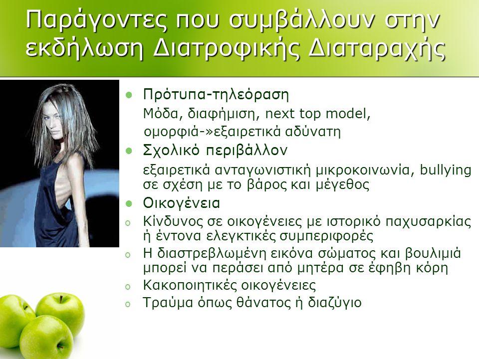 Παράγοντες που συμβάλλουν στην εκδήλωση Διατροφικής Διαταραχής  Πρότυπα-τηλεόραση Μόδα, διαφήμιση, next top model, ομορφιά-»εξαιρετικά αδύνατη  Σχολ