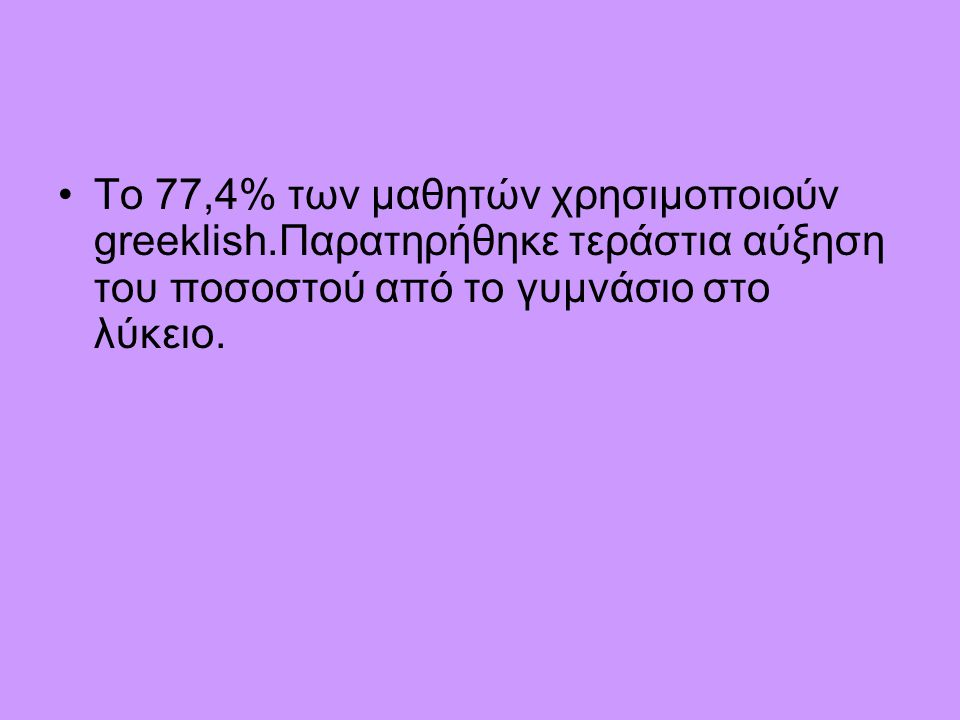 •Το 77,4% των μαθητών χρησιμοποιούν greeklish.Παρατηρήθηκε τεράστια αύξηση του ποσοστού από το γυμνάσιο στο λύκειο.