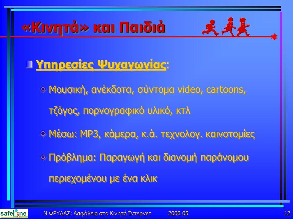 Ν ΦΡΥΔΑΣ: Ασφάλεια στο Κινητό Ίντερνετ 2006 05 12 «Κινητά» και Παιδιά Υπηρεσίες Ψυχαγωγίας: Μουσική, ανέκδοτα, σύντομα video, cartoons, τζόγος, πορνογραφικό υλικό, κτλ Μέσω: MP3, κάμερα, κ.ά.
