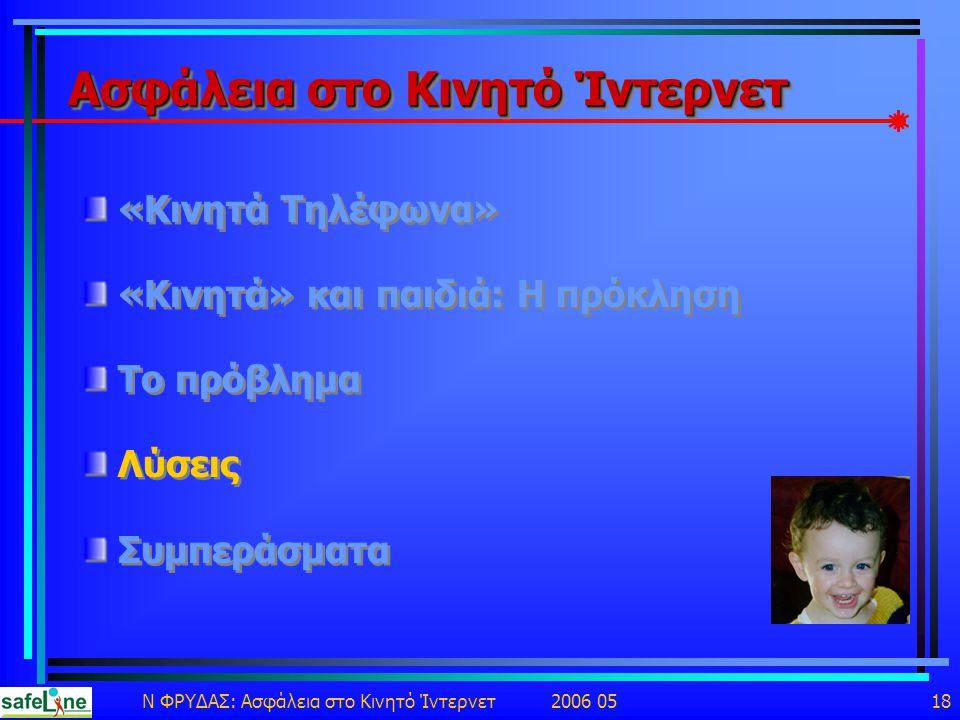 Ν ΦΡΥΔΑΣ: Ασφάλεια στο Κινητό Ίντερνετ 2006 05 18 Ασφάλεια στο Κινητό Ίντερνετ «Κινητά Τηλέφωνα» «Κινητά» και παιδιά: Η πρόκληση Το πρόβλημα Λύσεις Συμπεράσματα «Κινητά Τηλέφωνα» «Κινητά» και παιδιά: Η πρόκληση Το πρόβλημα Λύσεις Συμπεράσματα