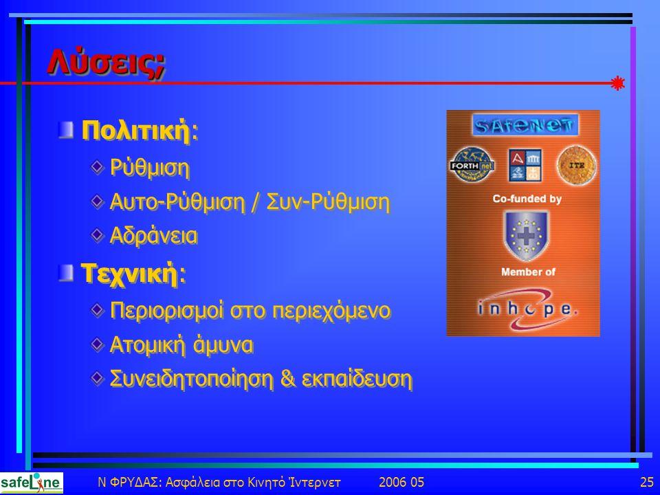 Ν ΦΡΥΔΑΣ: Ασφάλεια στο Κινητό Ίντερνετ 2006 05 25 Λύσεις;Λύσεις; Πολιτική: Ρύθμιση Αυτο-Ρύθμιση / Συν-Ρύθμιση Αδράνεια Τεχνική: Περιορισμοί στο περιεχόμενο Ατομική άμυνα Συνειδητοποίηση & εκπαίδευση Πολιτική: Ρύθμιση Αυτο-Ρύθμιση / Συν-Ρύθμιση Αδράνεια Τεχνική: Περιορισμοί στο περιεχόμενο Ατομική άμυνα Συνειδητοποίηση & εκπαίδευση