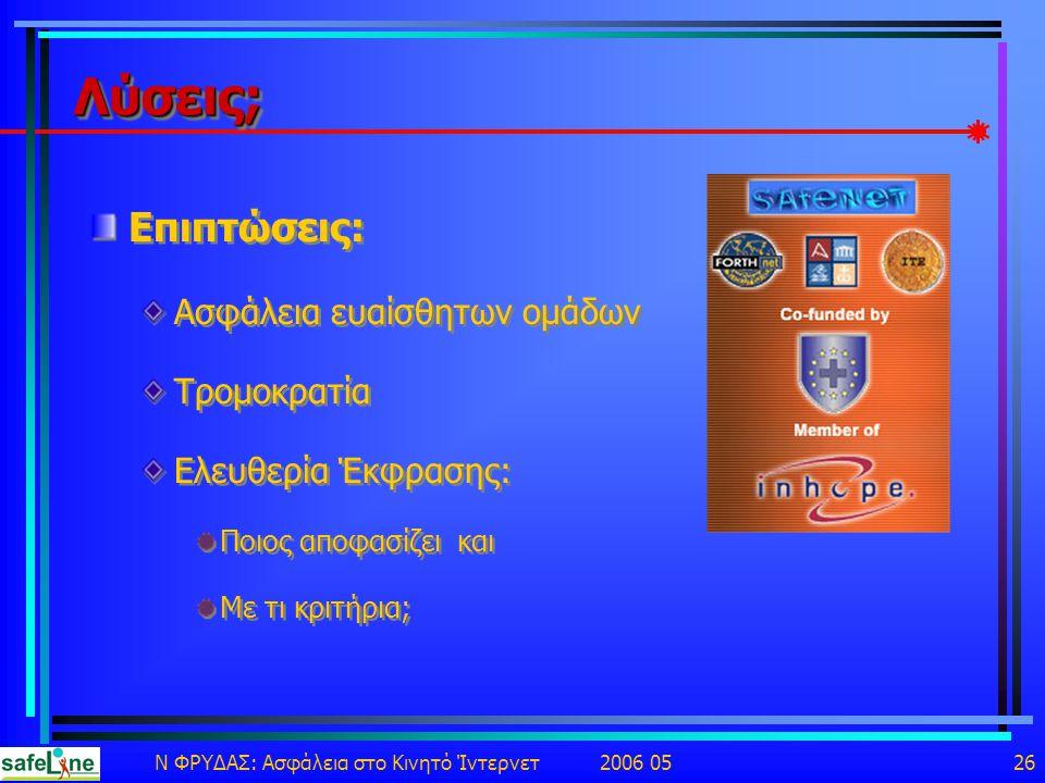 Ν ΦΡΥΔΑΣ: Ασφάλεια στο Κινητό Ίντερνετ 2006 05 26 Λύσεις;Λύσεις; Επιπτώσεις: Ασφάλεια ευαίσθητων ομάδων Τρομοκρατία Ελευθερία Έκφρασης: Ποιος αποφασίζει και Με τι κριτήρια; Επιπτώσεις: Ασφάλεια ευαίσθητων ομάδων Τρομοκρατία Ελευθερία Έκφρασης: Ποιος αποφασίζει και Με τι κριτήρια;