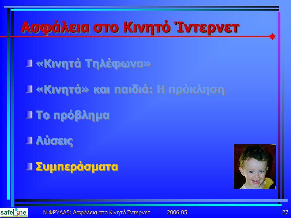 Ν ΦΡΥΔΑΣ: Ασφάλεια στο Κινητό Ίντερνετ 2006 05 27 Ασφάλεια στο Κινητό Ίντερνετ «Κινητά Τηλέφωνα» «Κινητά» και παιδιά: Η πρόκληση Το πρόβλημα Λύσεις Συμπεράσματα «Κινητά Τηλέφωνα» «Κινητά» και παιδιά: Η πρόκληση Το πρόβλημα Λύσεις Συμπεράσματα