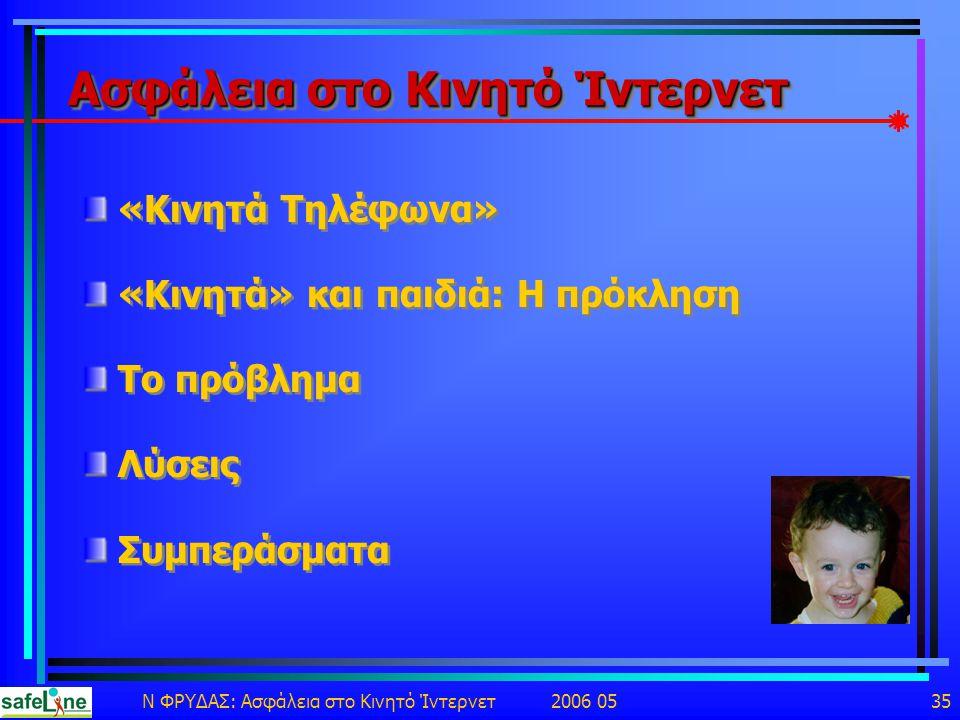Ν ΦΡΥΔΑΣ: Ασφάλεια στο Κινητό Ίντερνετ 2006 05 35 Ασφάλεια στο Κινητό Ίντερνετ «Κινητά Τηλέφωνα» «Κινητά» και παιδιά: Η πρόκληση Το πρόβλημα Λύσεις Συμπεράσματα «Κινητά Τηλέφωνα» «Κινητά» και παιδιά: Η πρόκληση Το πρόβλημα Λύσεις Συμπεράσματα