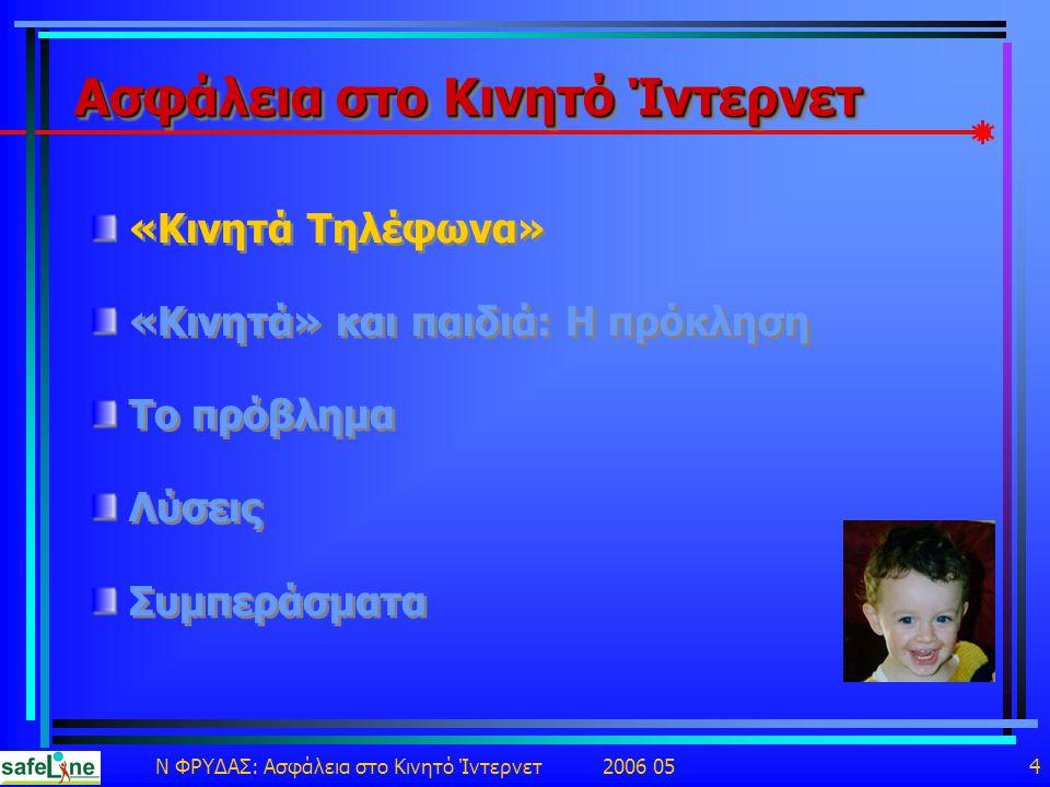 Ν ΦΡΥΔΑΣ: Ασφάλεια στο Κινητό Ίντερνετ 2006 05 4 Ασφάλεια στο Κινητό Ίντερνετ «Κινητά Τηλέφωνα» «Κινητά» και παιδιά: Η πρόκληση Το πρόβλημα Λύσεις Συμπεράσματα «Κινητά Τηλέφωνα» «Κινητά» και παιδιά: Η πρόκληση Το πρόβλημα Λύσεις Συμπεράσματα