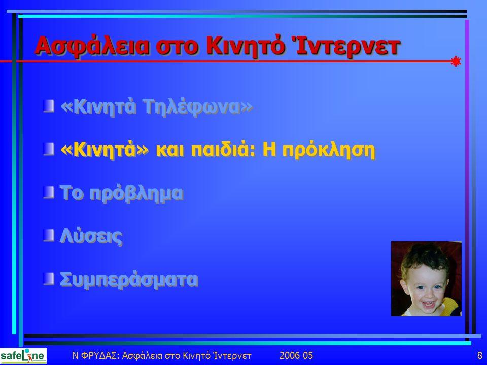 Ν ΦΡΥΔΑΣ: Ασφάλεια στο Κινητό Ίντερνετ 2006 05 8 Ασφάλεια στο Κινητό Ίντερνετ «Κινητά Τηλέφωνα» «Κινητά» και παιδιά: Η πρόκληση Το πρόβλημα Λύσεις Συμπεράσματα «Κινητά Τηλέφωνα» «Κινητά» και παιδιά: Η πρόκληση Το πρόβλημα Λύσεις Συμπεράσματα