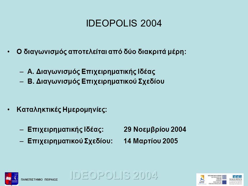 ΠΑΝΕΠΙΣΤΗΜΙΟ ΠΕΙΡΑΙΩΣ IDEOPOLIS 2004 •Ο διαγωνισμός αποτελείται από δύο διακριτά μέρη: –A. Διαγωνισμός Επιχειρηματικής Ιδέας –B. Διαγωνισμός Επιχειρημ