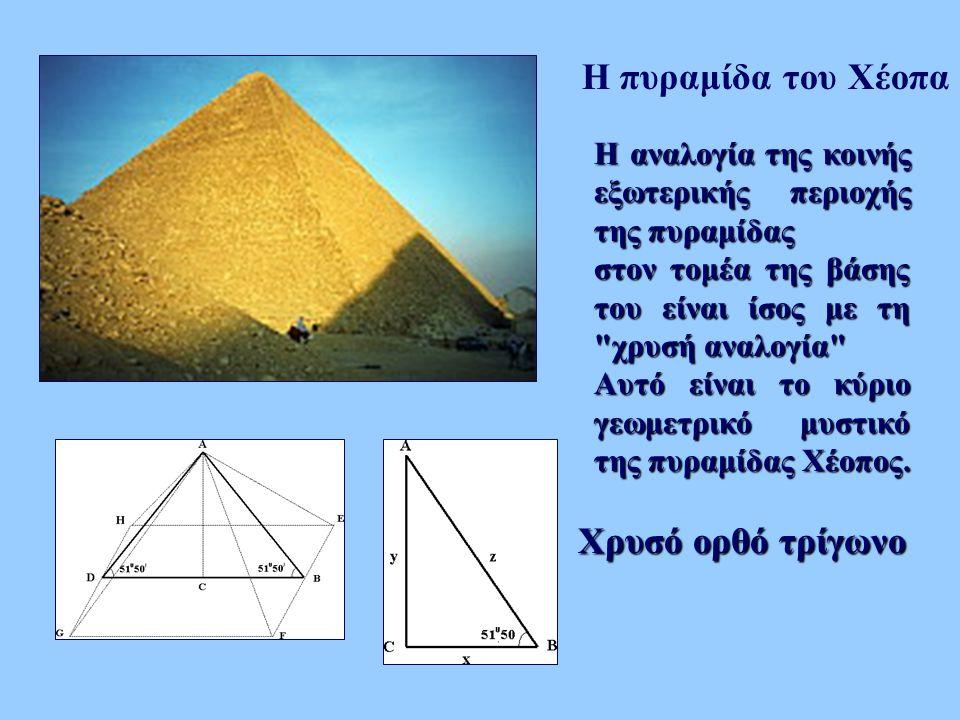 Η πυραμίδα του Χέοπα Χρυσό ορθό τρίγωνο Η αναλογία της κοινής εξωτερικής περιοχής της πυραμίδας στον τομέα της βάσης του είναι ίσος με τη