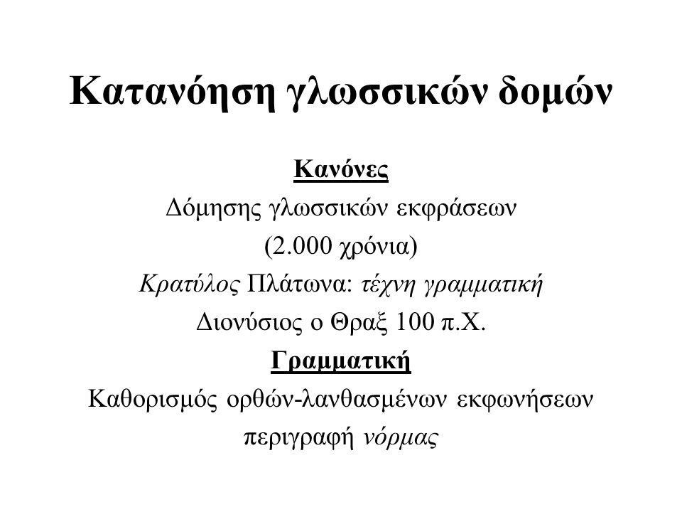 Στατιστική προσέγγιση 'All grammars leak Edward Sapir 1921 Δυναμικός χαρακτήρας γλώσσας: παραβίαση κανόνων για λόγους επικοινωνιακούς Ποιά είναι τα κοινά σχήματα που εμφανίζονται στη χρήση της γλώσσας; Κύριο εργαλείο εντοπισμού: καταμέτρηση Στατιστική προσέγγιση