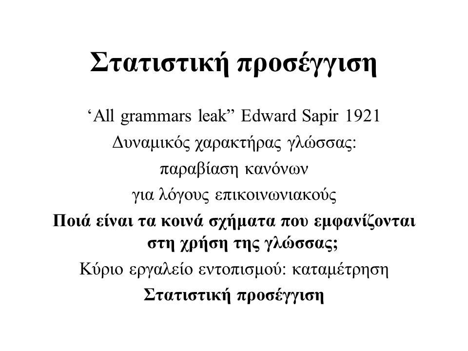 Βασικοί προμηθευτές αγγλικών σωμάτων κειμένων •Linguistic Data Consortium (LDC) http://www.ldc.upenn.edu http://www.ldc.upenn.edu •European Language Resources Association http://www.icp.grenet.fr/ELRA/ •International Computer Archive of Modern English (ICAME) http://nora.hd.uib.no/icame.html