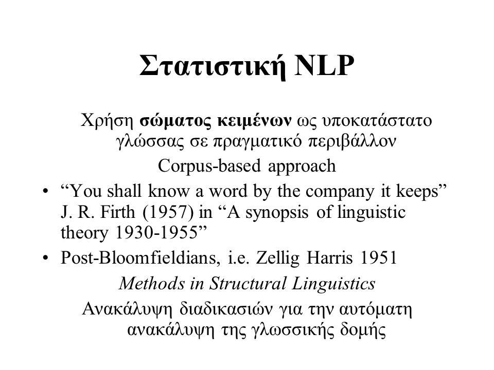 Σώματα Κειμένων 1 •Brown corpus (Πανεπιστήμιο Brown 1960-1980) 1.000.000 λέξεις γραπτής Αμερικανικής Αγγλικής γλώσσας Ισορροπημένο σώμα κειμένων (αντιπροσωπευτικό της γλωσσικής πραγματικότητας σε δεδομένη χρονική περίοδο π.χ.