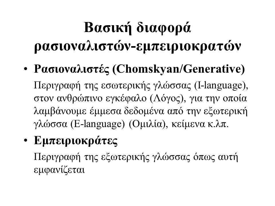 Λόγος # Ομιλία •Λόγος (ενδιάθετος) (langue): η εσωτερικευμένη, ασυνείδητη εν πολλοίς, γνώση ενός συστήματος επικοινωνίας, μόνιμης σταθερής υφής: •Ομιλία (parole): Φωνούμενος λόγος: πράξη συνειδητή, πρακτική εφαρμογή της γνώσης της γλώσσας για την πλήρωση συγκεκριμένης επικοινωνιακής ανάγκης= φυσική πραγματικότητα περιστασιακού χαρακτήρα, προσιτή στις αισθήσεις (δυνατή να καταγραφεί): Saussure(Μπαμπινιώτης 1980)