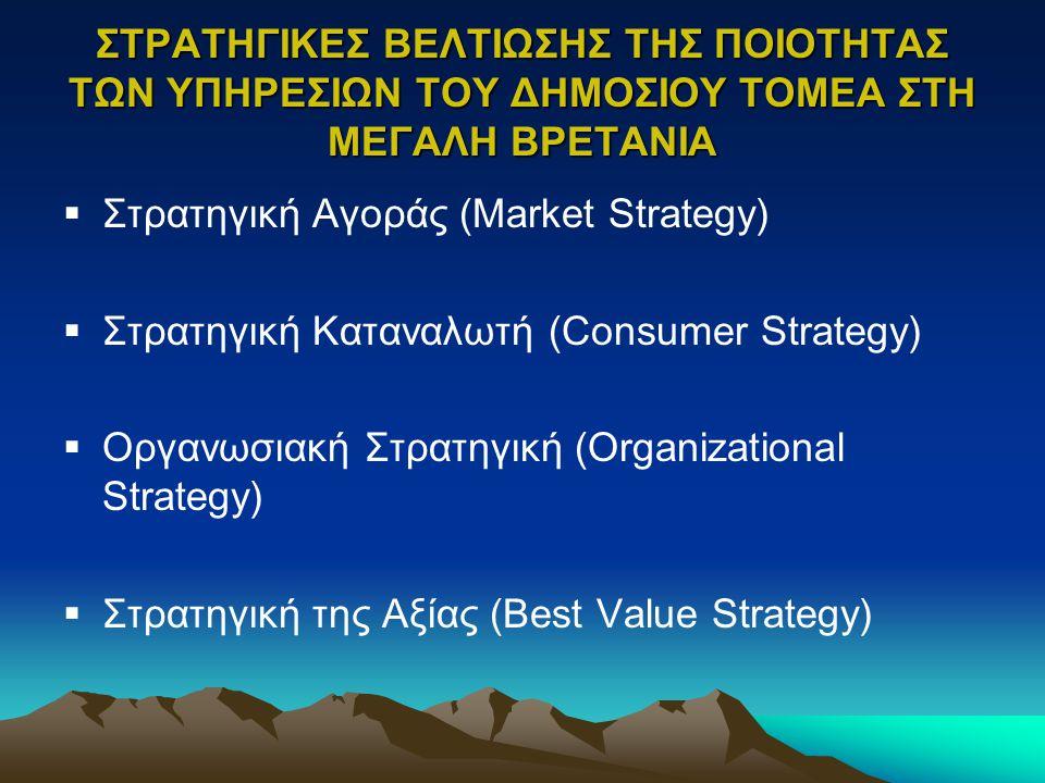 ΣΤΡΑΤΗΓΙΚΕΣ ΒΕΛΤΙΩΣΗΣ ΤΗΣ ΠΟΙΟΤΗΤΑΣ ΤΩΝ ΥΠΗΡΕΣΙΩΝ ΤΟΥ ΔΗΜΟΣΙΟΥ ΤΟΜΕΑ ΣΤΗ ΜΕΓΑΛΗ ΒΡΕΤΑΝΙΑ  Στρατηγική Αγοράς (Market Strategy)  Στρατηγική Καταναλωτή