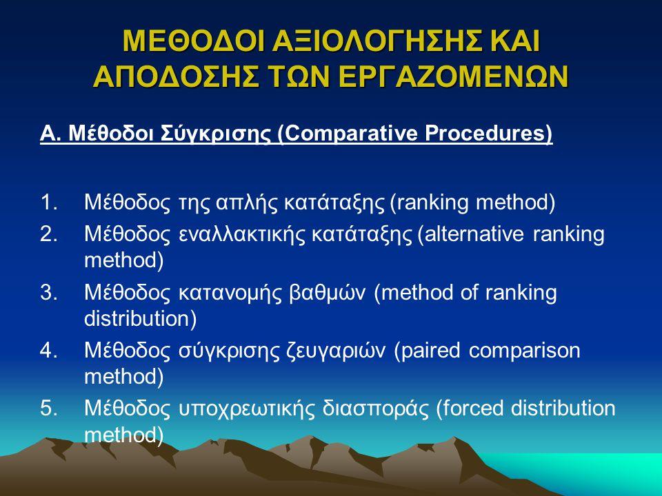 ΜΕΘΟΔΟΙ ΑΞΙΟΛΟΓΗΣΗΣ ΚΑΙ ΑΠΟΔΟΣΗΣ ΤΩΝ ΕΡΓΑΖΟΜΕΝΩΝ Α. Μέθοδοι Σύγκρισης (Comparative Procedures) 1.Μέθοδος της απλής κατάταξης (ranking method) 2.Μέθοδο