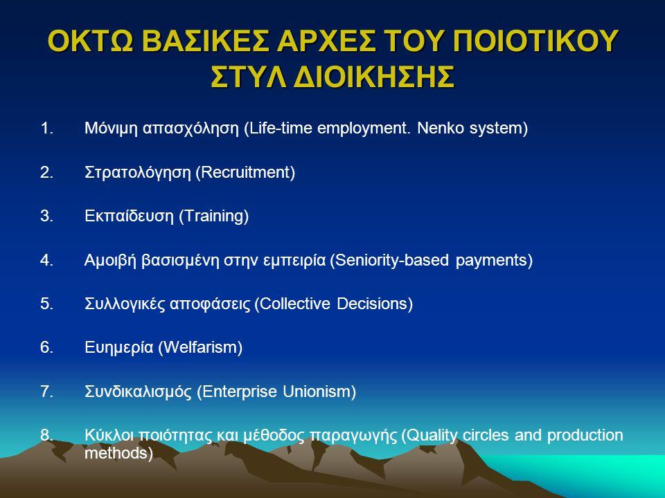 ΟΚΤΩ ΒΑΣΙΚΕΣ ΑΡΧΕΣ ΤΟΥ ΠΟΙΟΤΙΚΟΥ ΣΤΥΛ ΔΙΟΙΚΗΣΗΣ 1.Μόνιμη απασχόληση (Life-time employment. Nenko system) 2.Στρατολόγηση (Recruitment) 3.Εκπαίδευση (Tr
