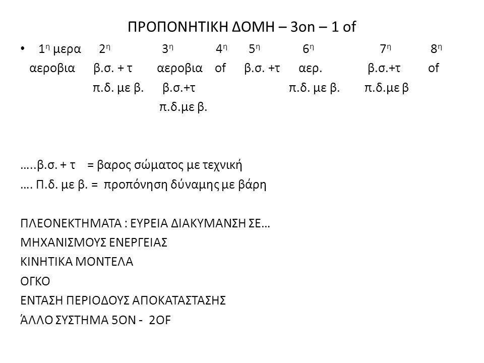 ΠΡΟΠΟΝΗΤΙΚΗ ΔΟΜΗ – 3on – 1 of • 1 η μερα 2 η 3 η 4 η 5 η 6 η 7 η 8 η αεροβια β.σ. + τ αεροβια of β.σ. +τ αερ. β.σ.+τ of π.δ. με β. β.σ.+τ π.δ. με β. π