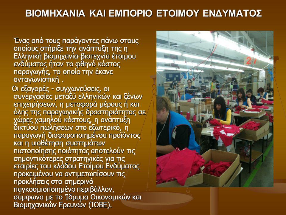 ΒΙΟΜΗΧΑΝΙΑ ΚΑΙ ΕΜΠΟΡΙΟ ΕΤΟΙΜΟΥ ΕΝΔΥΜΑΤΟΣ Ένας από τους παράγοντες πάνω στους οποίους στήριξε την ανάπτυξη της η Ελληνική βιομηχανία-βιοτεχνία έτοιμου ενδύματος ήταν το φθηνό κόστος παραγωγής, το οποίο την έκανε ανταγωνιστική.