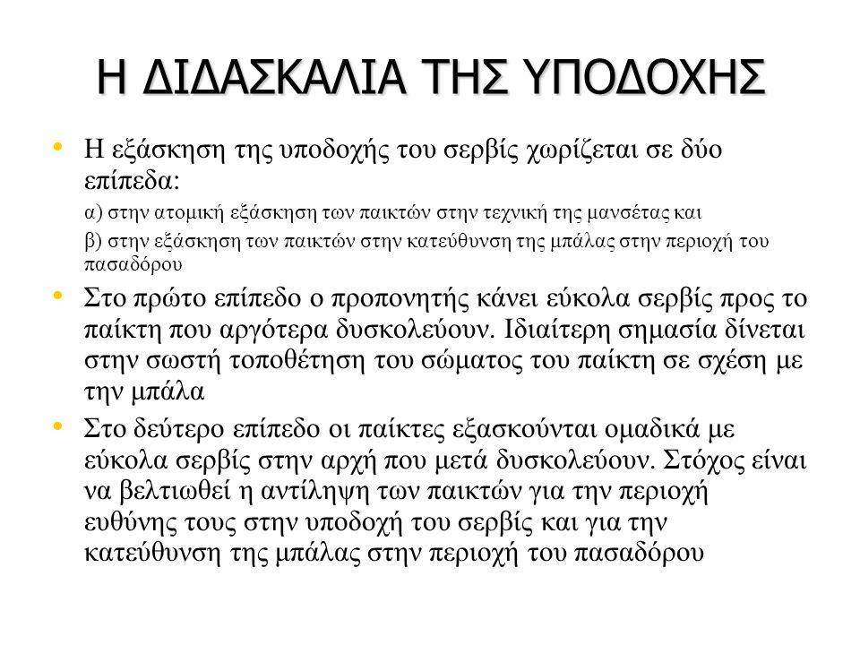 Η ΔΙΔΑΣΚΑΛΙΑ ΤΗΣ ΥΠΟΔΟΧΗΣ • • Η εξάσκηση της υποδοχής του σερβίς χωρίζεται σε δύο επίπεδα: α) στην ατομική εξάσκηση των παικτών στην τεχνική της μανσέ